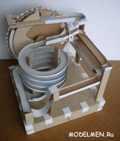 Toy with balls, made of cardboard (Marble machine)